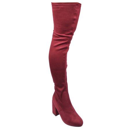 Beston Ej59 Womens Stretchy Snug Fit Zipper Block Heel Over The Knee High Boots