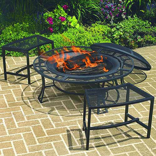 Bravo Mesh Fire Pit with Bench Set