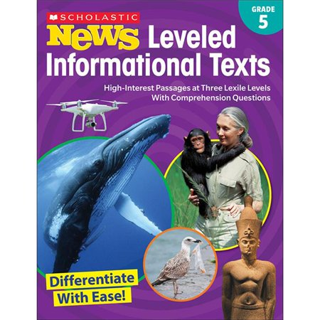 Scholastic Teaching Resources SC-828475 Grade 5 News Leveled Informational Texts with Comprehension Questions Activity Book - image 1 of 1