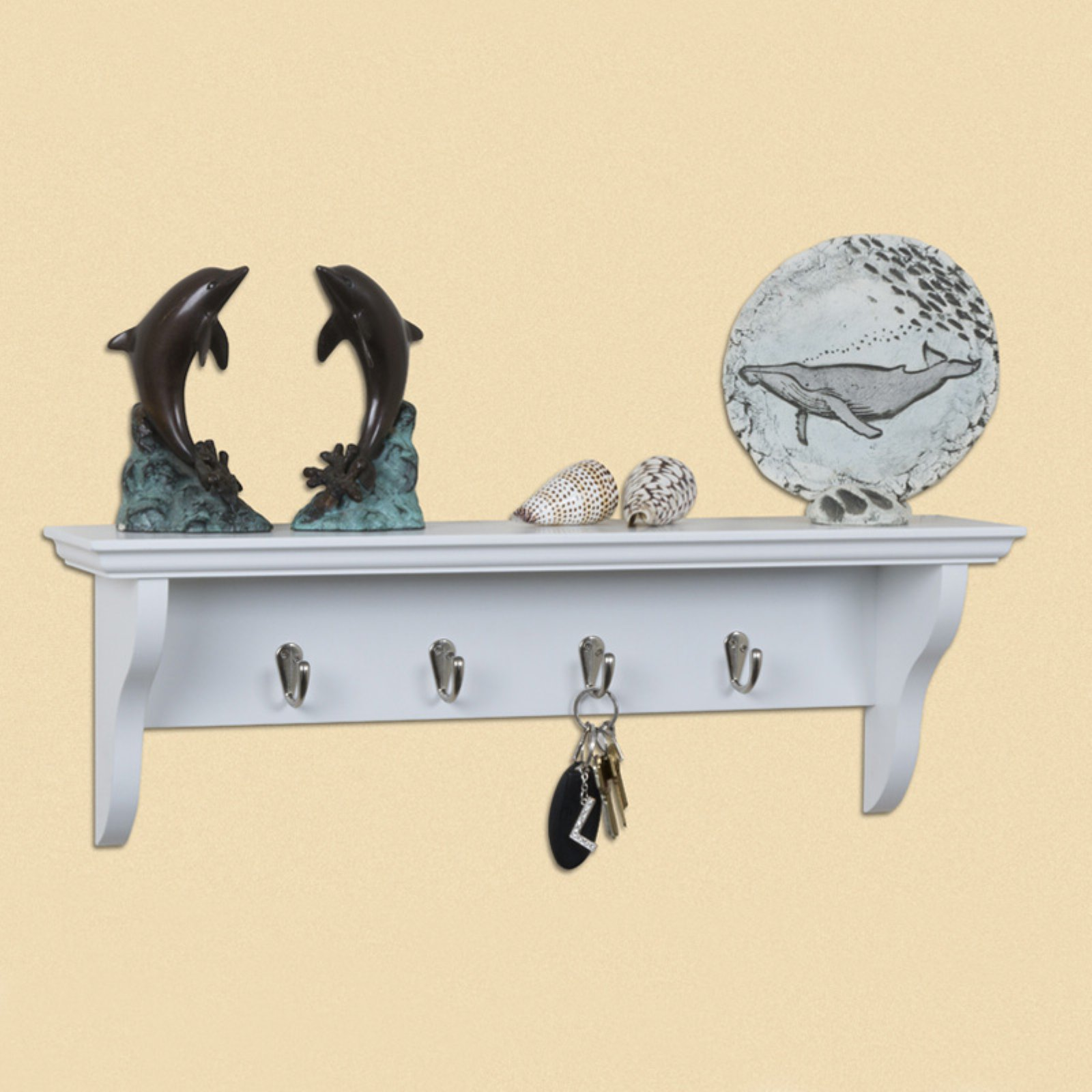 White Wall Shelf with Hooks - 24W in.