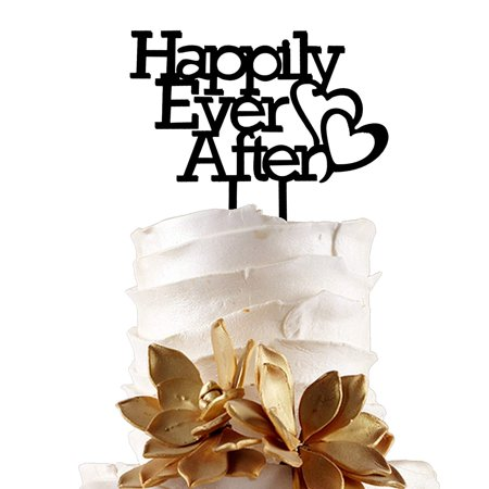 JennyGems Wedding & Anniversary Black Acrylic Cake Topper - Happily Ever After - Fairytale Dream Wedding Decoration - Prince and Princess Wedding Theme - Princess Themed Wedding