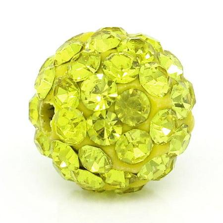 5 Pcs Yellow Polymer Clay Ball Beads Pave Yellow Rhinestone 10mm 10 Mm Pave Ball