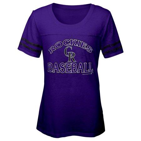 MLB COLORADO ROCKIES TEE Short Sleeve Girls Fashion 60% Cotton 40% Polyester Alternate Team Colors 7 - 16