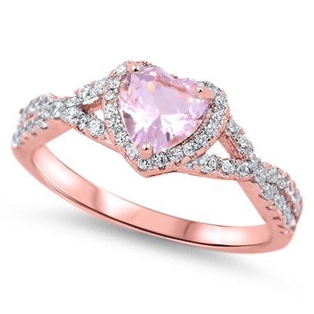 Sterling Cz Rings - CHOOSE YOUR COLOR Pink CZ Rose Gold-Tone Heart Ring .925 Sterling Silver Vintage Band (Pink Rose-Tone/Ring Size 4)