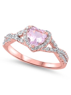 f9d9d86b2 Product Image CHOOSE YOUR COLOR Pink CZ Rose Gold-Tone Heart Ring .925  Sterling Silver Vintage