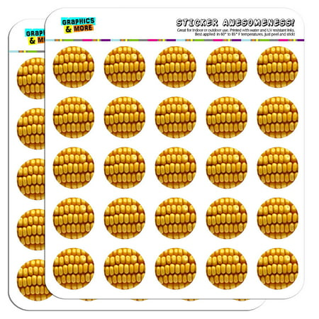 "Corn on the Cob Kernels 1"" Scrapbooking Crafting Stickers"