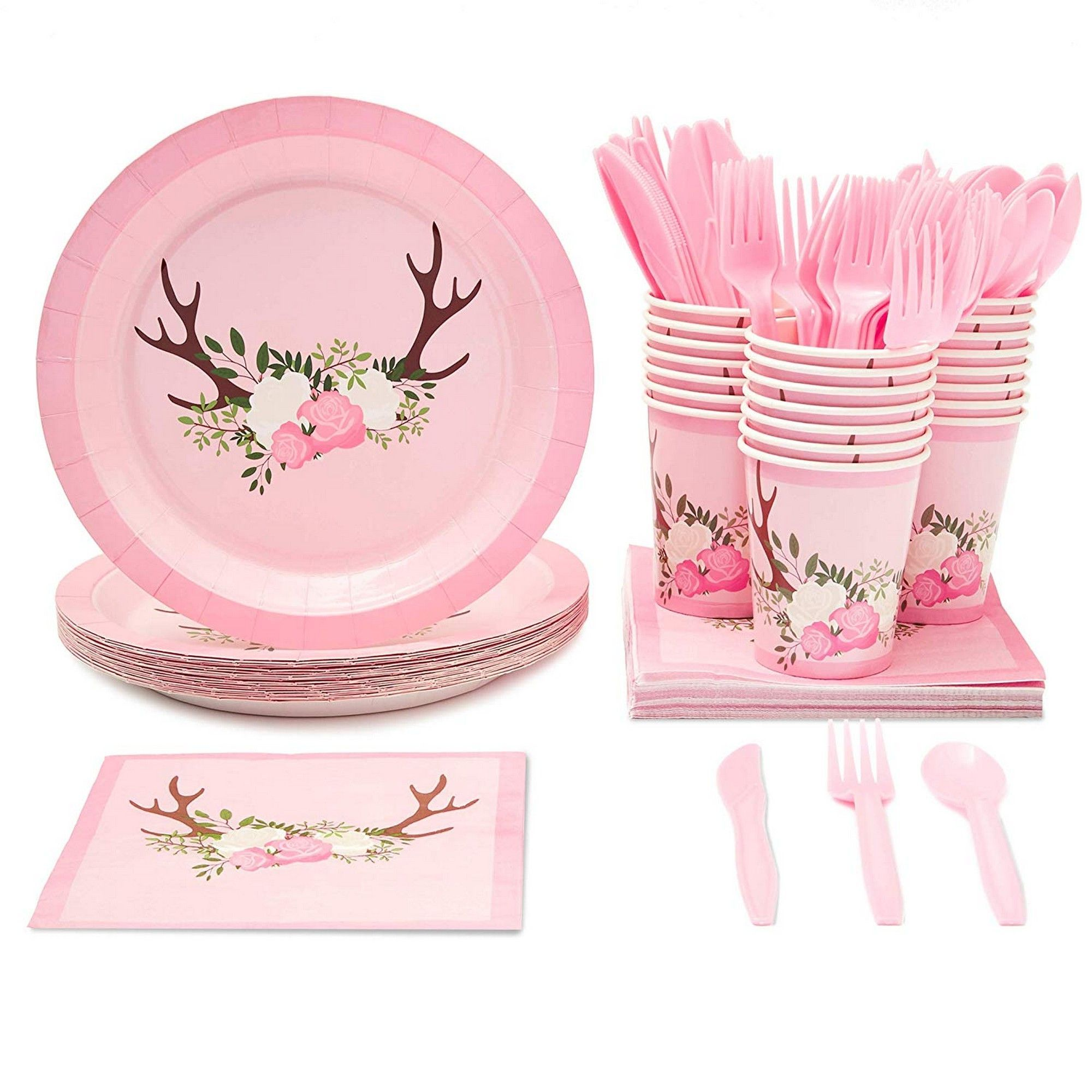 """** 8 x 9/"""" PAPER PLATES PINK BIRD GIRLS 1ST BIRTHDAY PARTY TABLEWARE BABY  ONE"""