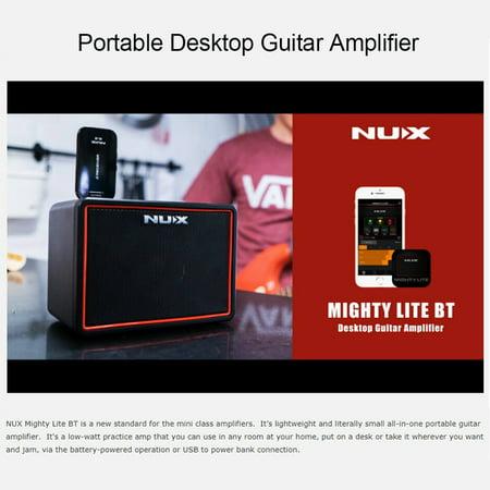NUX Mighty Lite BT Mini Ampli guitare de bureau électrique 3W Amp 3 canaux Intégration des effets de reverb à retard 9 Patterns de batterie Métronome Tape Tempo - image 6 of 7
