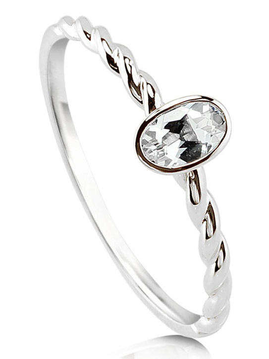 10K White Gold Oval Cut Topaz Solitaire Cable Promise Ring Size 4