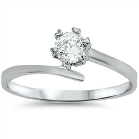 White CZ Round Solitaire 6 Prong Wave Ring .925 Sterling Silver Band Size