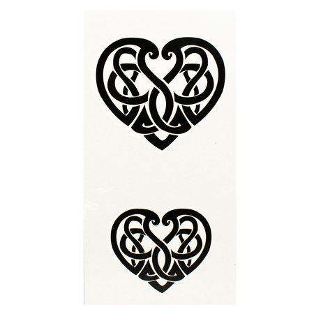 Tribal Tattoo Ornately Woven Hearts Temporary Tattoo Set (2 Tattoos)