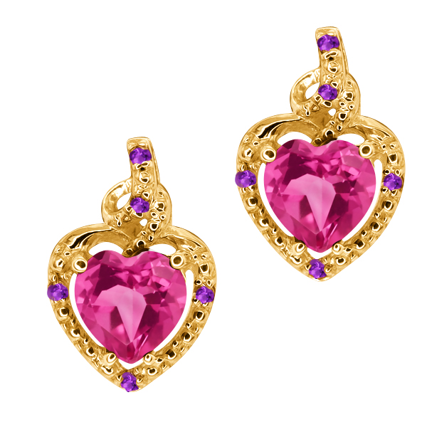 1.86 Ct Heart Shape Pink Mystic Topaz Purple Amethyst 14K Yellow Gold Earrings