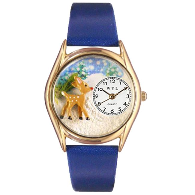 Whimsical Gifts C-1220002 Christmas Reindeer Watch Small Gold Style