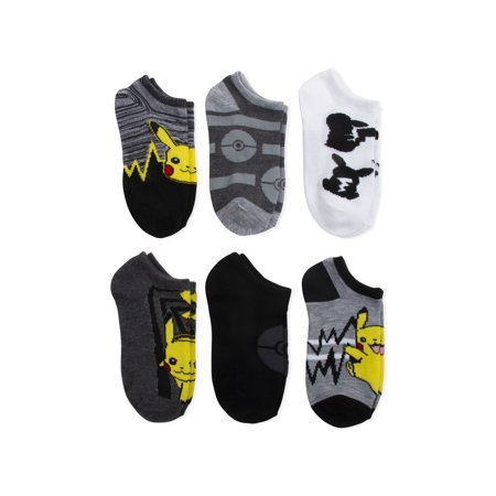 Pokemon Boys No Show Socks, 6 Pack
