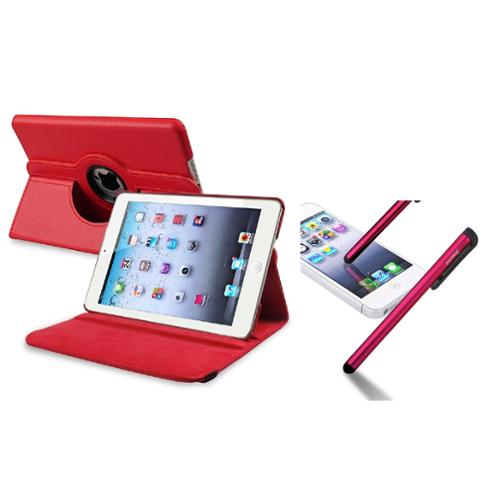 iPad Mini 3/2/1 Case, iPad Mini Case by Insten Red 360 Swivel Leather Case+Stylus For iPad Mini 3/2/1 (Supports Auto Sleep/Wake)
