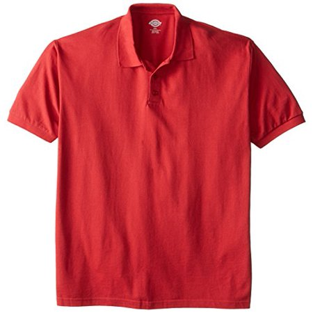 Dickies Men's Big Short Sleeve Pique Polo, English Red, 2X
