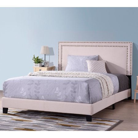 Full Size Platform Bed Frame, URHOMEPRO Modern Upholstered Platform Bed with Headboard, Beige Heavy Duty Bed Frame with Wood Slat Support for Adults Teens Children, No Box Spring Required, I7674 ()