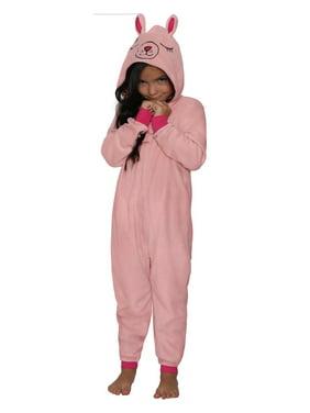 St. Eve Girls' Union Suit Pajama Micro Fleece Hooded Blanket Sleeper, Blue Raccoon, Size: 14/16