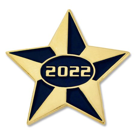 PinMart's 2022 Blue and Gold Star Class of School Graduation Enamel Lapel Pin