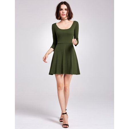 Alisa Pan Women's Sexy Scoop Neck Long Sleeve Fit and Flare Date Night Cocktail Party Casual Knit Dress for Women 05924 on Clearance