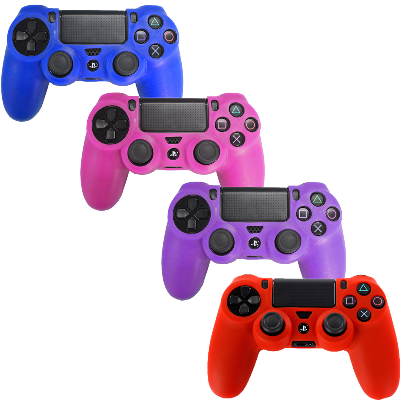 HDE PS4 Controller Skin 4 Pack Combo Silicone Rubber Protective Grip for Sony PlayStation 4 Wireless Dualshock Game Controllers (Blue, Red, Purple, Pink)
