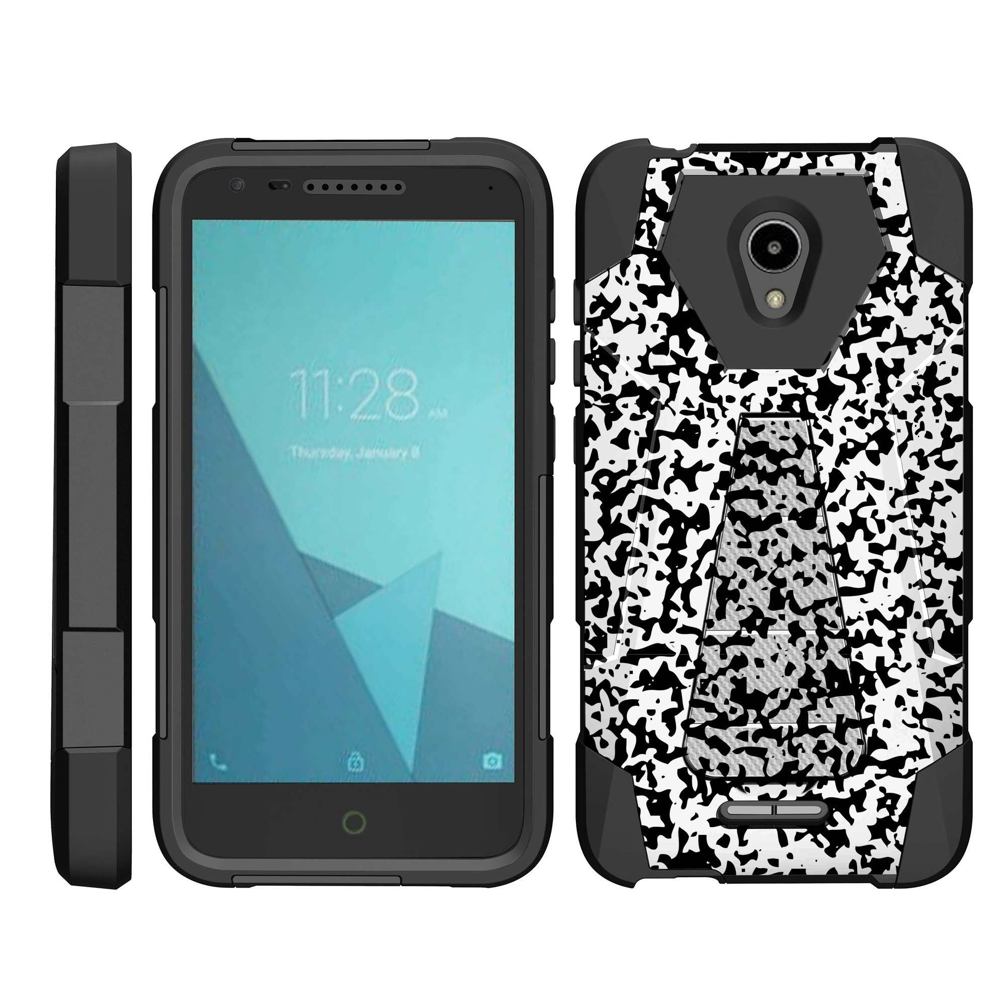 TurtleArmor ® | For Alcatel IdealXCITE | CAMEOX | U50 | Verso [Dynamic Shell] Dual Layer Hybrid Silicone Hard Shell Kickstand Case - Composition Notebook Camouflage