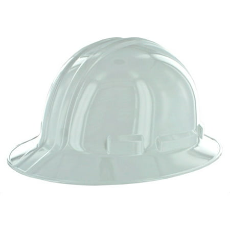 3M Full-Brim Non-Vented Hard Hat with Ratchet Adjustment, - White Construction Helmet