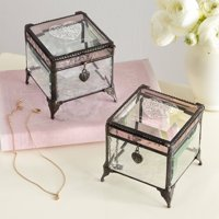 Personalized Message on Her Heart Glass Jewelry Box