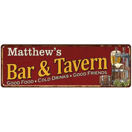 Matthew's Bar and Tavern Red Chic Sign Man Cave Décor Gift 6x18 Sign G6180002418 - Tavern Man