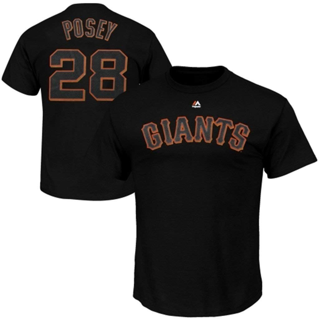 Majestic Buster Posey San Francisco Giants Black Youth Jersey Name and Number T-shirt Large 14-16