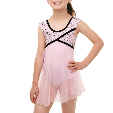 Girls' Babydoll Leotard with Keyhole Cutout (Pink Dance Leotard)