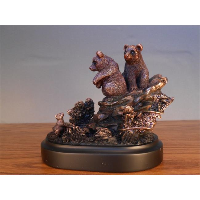 Marian Imports F13025 2 Bear Cubs Bronze Plated Resin Sculpture