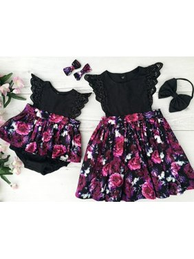 685f9425d5c6 Product Image Toddelr Kid Baby Girl Sister Matching Floral Jumpsuit Romper  Dress Outfits Set