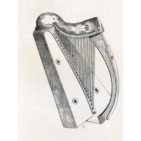 Gold Irish Harp (Irish Harp From Handbook Of The Arts Of The Middle Ages And Renaissance Published London 1855)