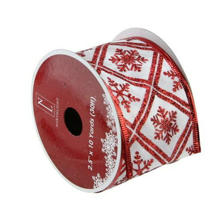 Christmas Wired Ribbon (White and Red Snowflake Wired Christmas Craft Ribbon 2.5