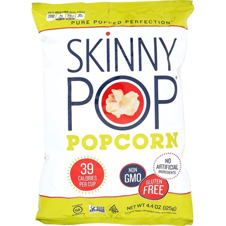 Delicious Popcorn Treats - SKINNYPOP Original Popped Popcorn, Individual Bags, Gluten Free Popcorn, Non-GMO, No Artificial Ingredients, A Delicious Source of Fiber, 4.4 Ounce (Pack of 12)