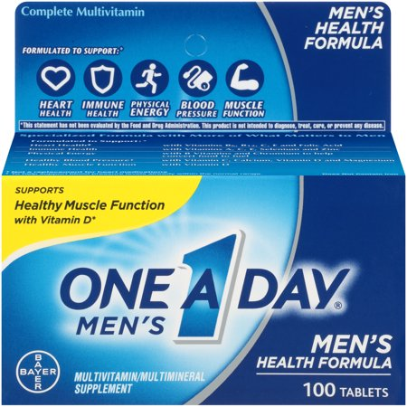 One A Day Men's Multivitamin, Supplement with Vitamins A, C, E, B1, B2, B6, B12,Calcium and Vitamin D, 100