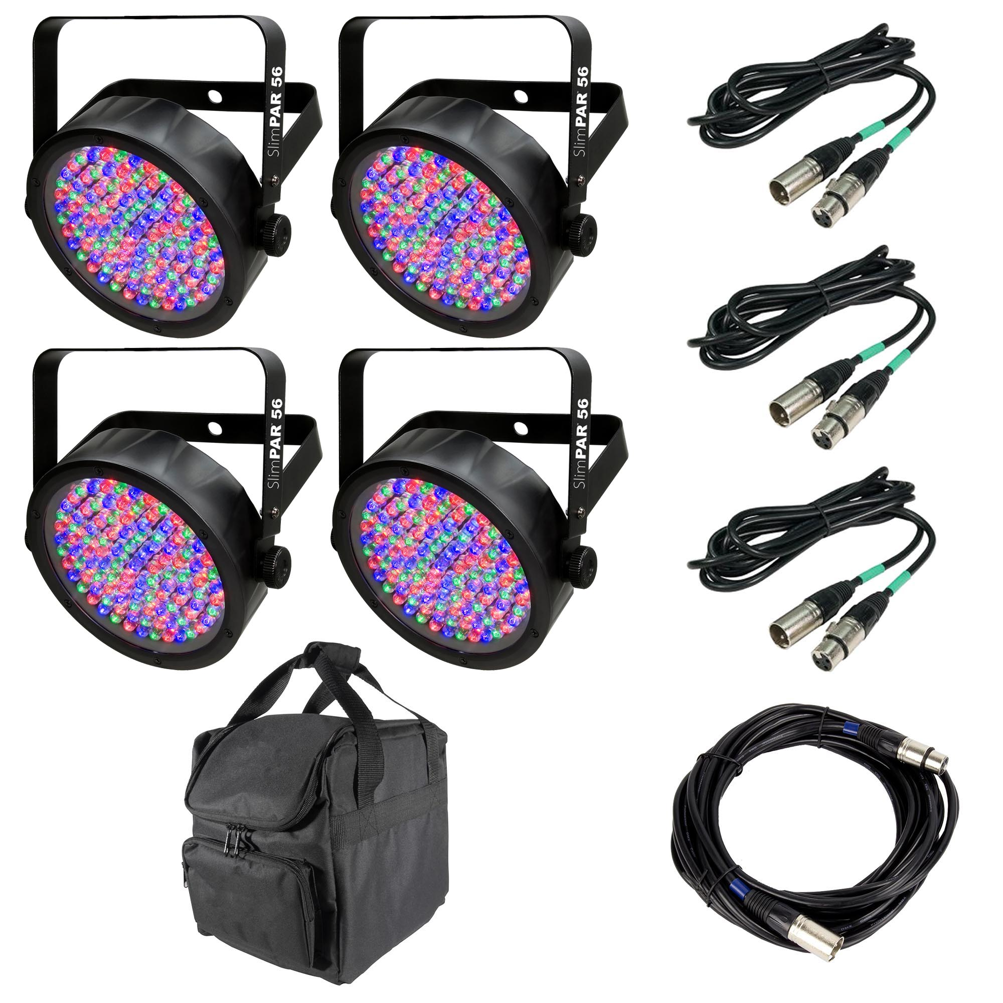 Chauvet SlimPar 56 LED Light (4) + 25' DMX Cable + 10' DMX Cable (3) + Carry Bag