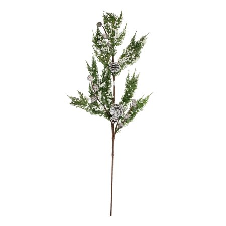 "Artificial Berry Spray - 34"" White Berries and Pine Cones Glittered Artificial Christmas Spray"