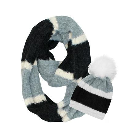 Black Gray White Fuzzy Knit Infinity Scarf & Fur Pom Pom Hat Set - Fuzzy Panda Hat