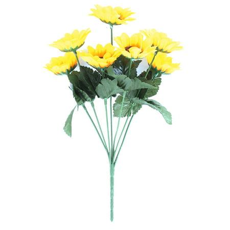 Home Decor Yellow 7 Heads 32cm Length Artificial Chrysanthemum Daisy Fake Flower - Daisy Flower Clip