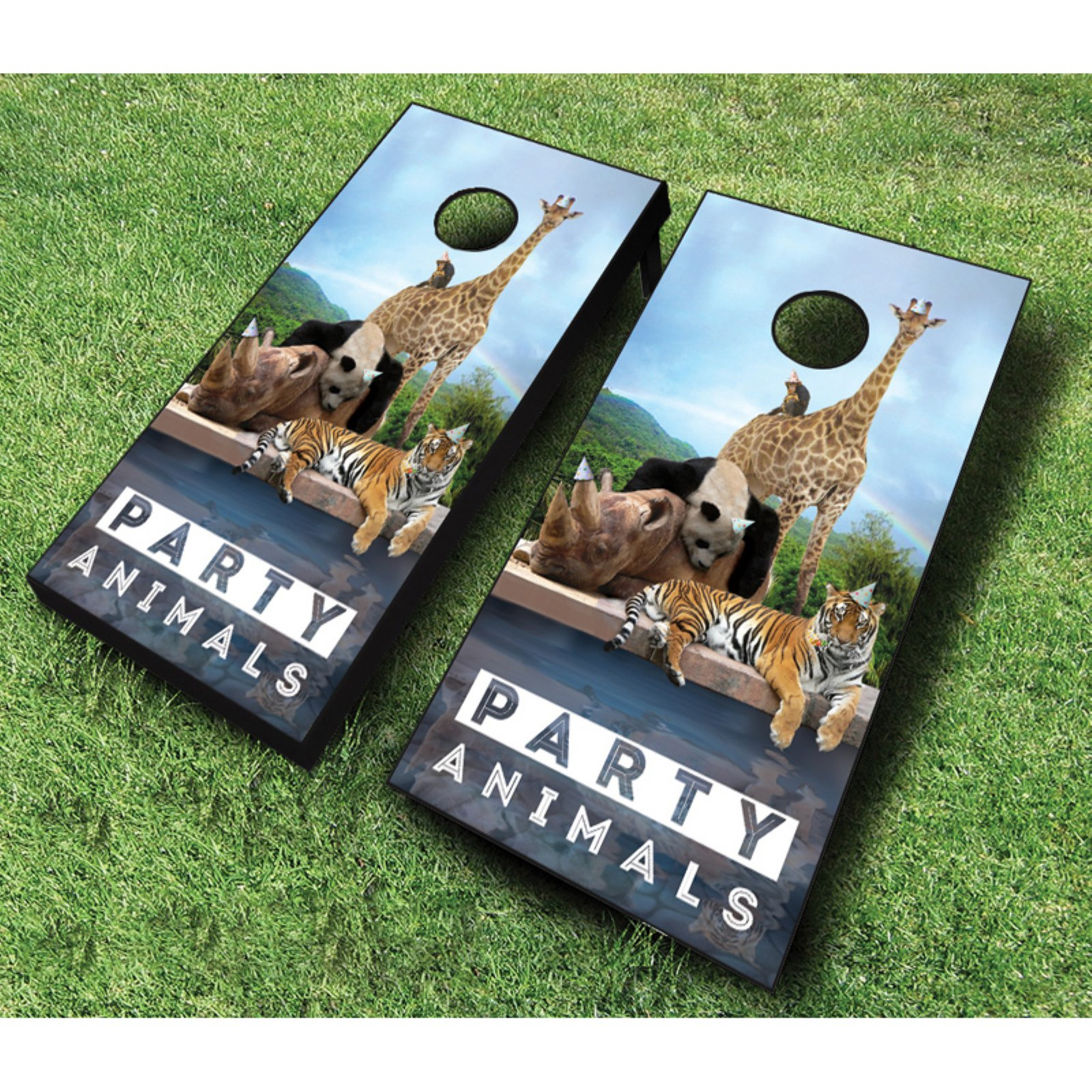 AJJ Cornhole Party Animals Cornhole Set with Bags by