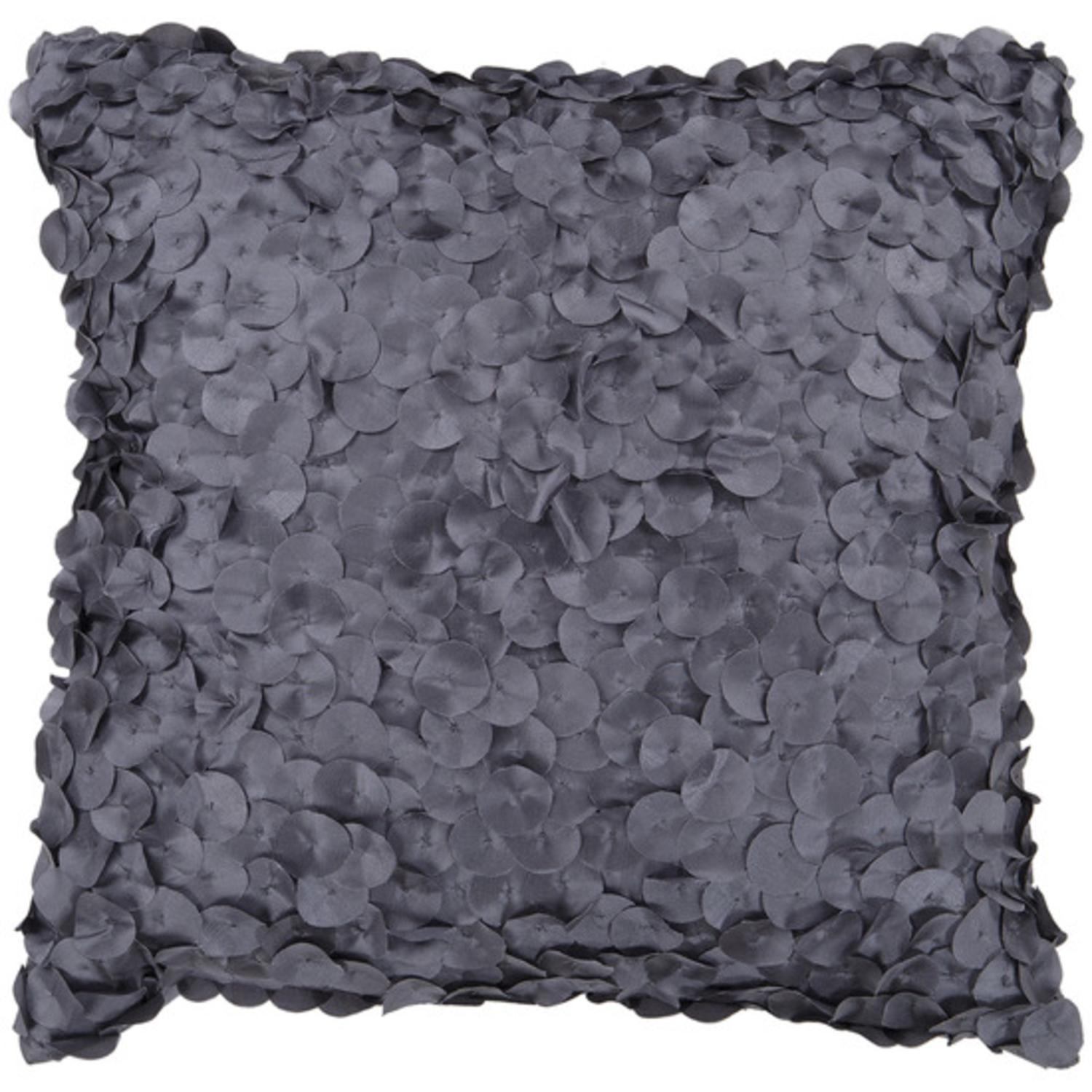 """18"""" Pewter Gray Shimmering Satin Rondelle Decorative Down Throw Pillow"""