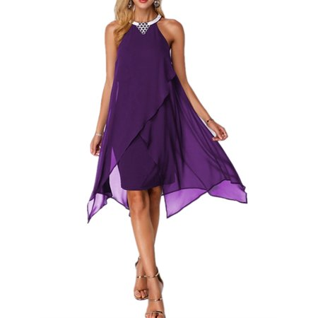 Sleeveless Halter Women A-line Loose Chiffon Dress Chiffon Ruched Halter Dress
