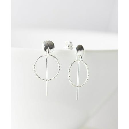 Dotted Hoop - Sterling Silver Twist Dot Hoop Drop Earrings
