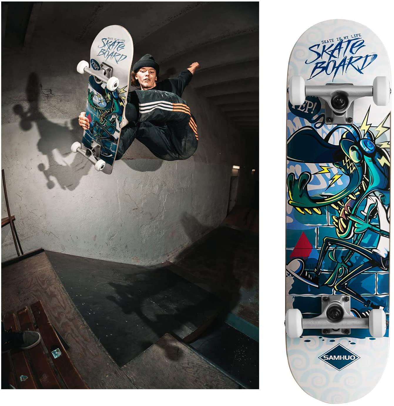 SAMHUO Skateboards 31X 8 Pro Complete Skateboard 7 Layer Canadian ...