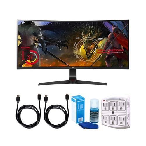 """LG (34UC89G-B) 34"""" Curved UltraWide WFHD 2560x1080 IPS Display Gaming Monitor w/ Accessories Bundle Includes, 2x HDMI Cable, SurgePro 6-Outlet Surge Adapter w/ Night Light & LED TV Screen Cleaner"""