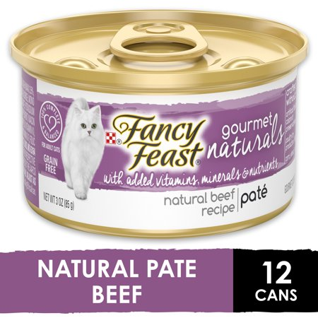 (12 Pack) Fancy Feast Grain Free, Natural Pate Wet Cat Food, Gourmet Naturals Beef Recipe, 3 oz. Cans