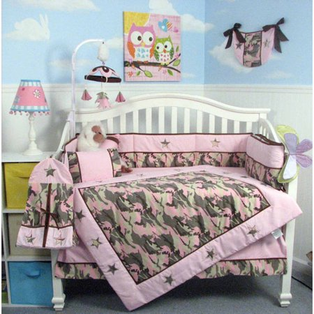 Soho Camo Baby Crib Nursery Bedding Set 13 Pcs Included Diaper Bag With Changing Pad