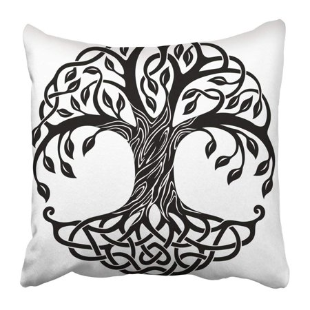 BPBOP Black Branches Celtic Tree of Life White Floral Knot Leaves Nature Roots Round Pillowcase 16x16 inch